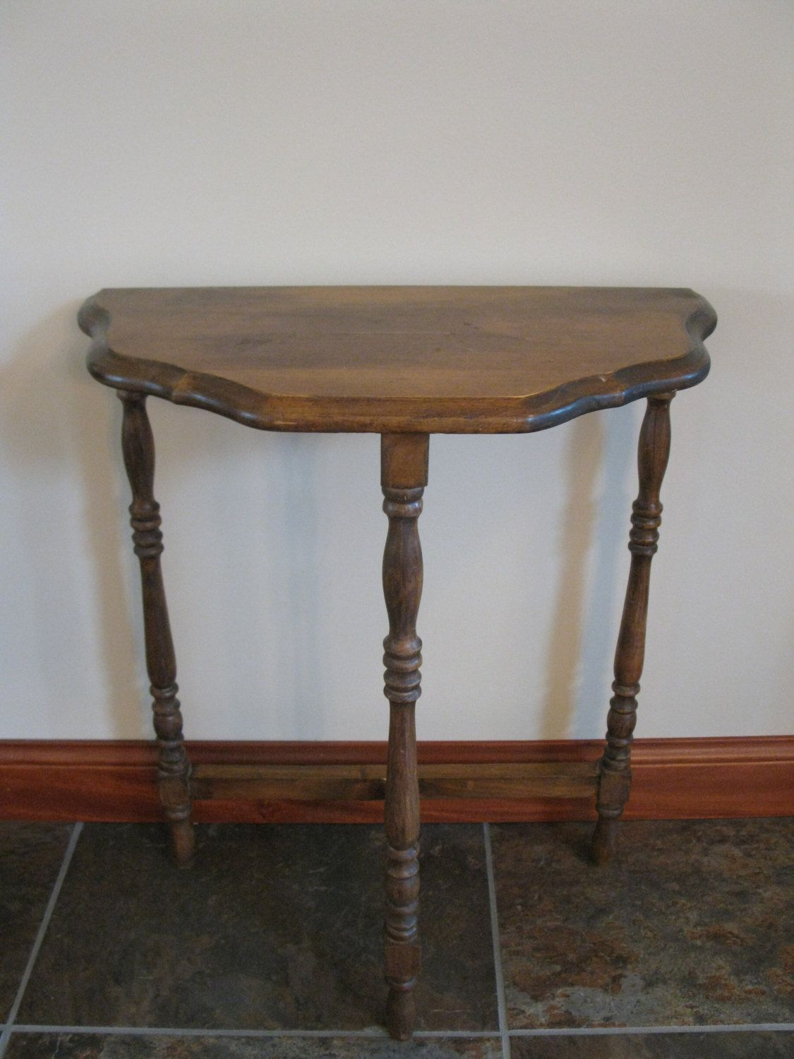 Vintage half moon side table 3 legged table small wood for Small dark wood side table