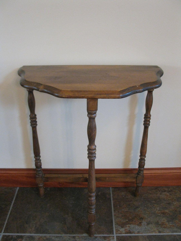vintage half moon side table 3 legged table small wood table turned legs dark stain. Black Bedroom Furniture Sets. Home Design Ideas