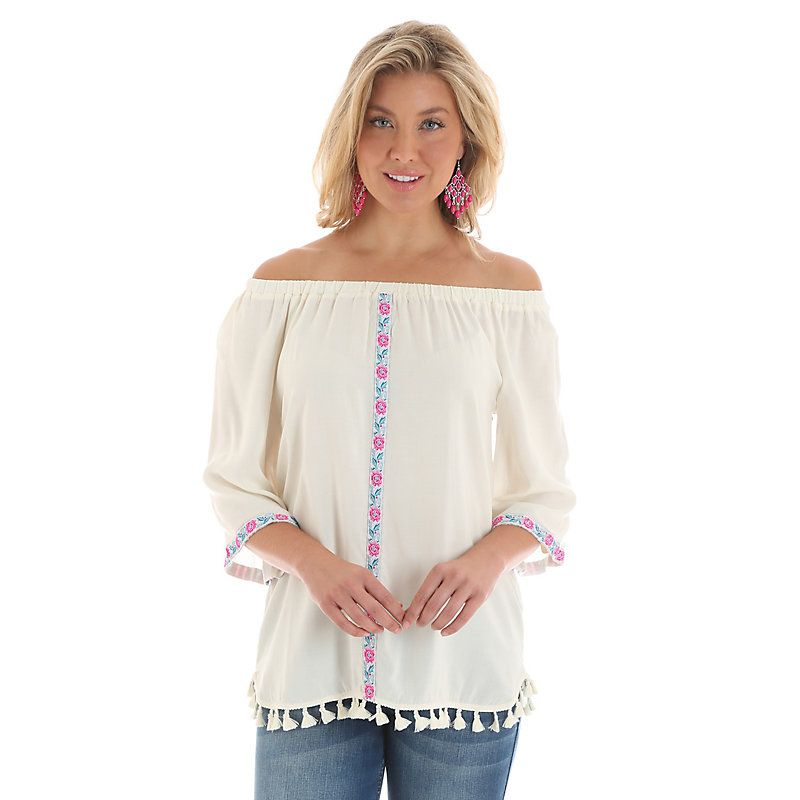 db7c791340fa Wrangler Women's Three Quarter Sleeve Off the Shoulder with Floral Piping  Down Center Top Shirt (Size: XL)