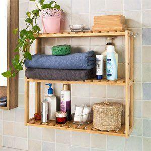 AmazonSmile: SoBuy® FRG28 B N, Bamboo + MDF 3 Tiers Wall Shelves,
