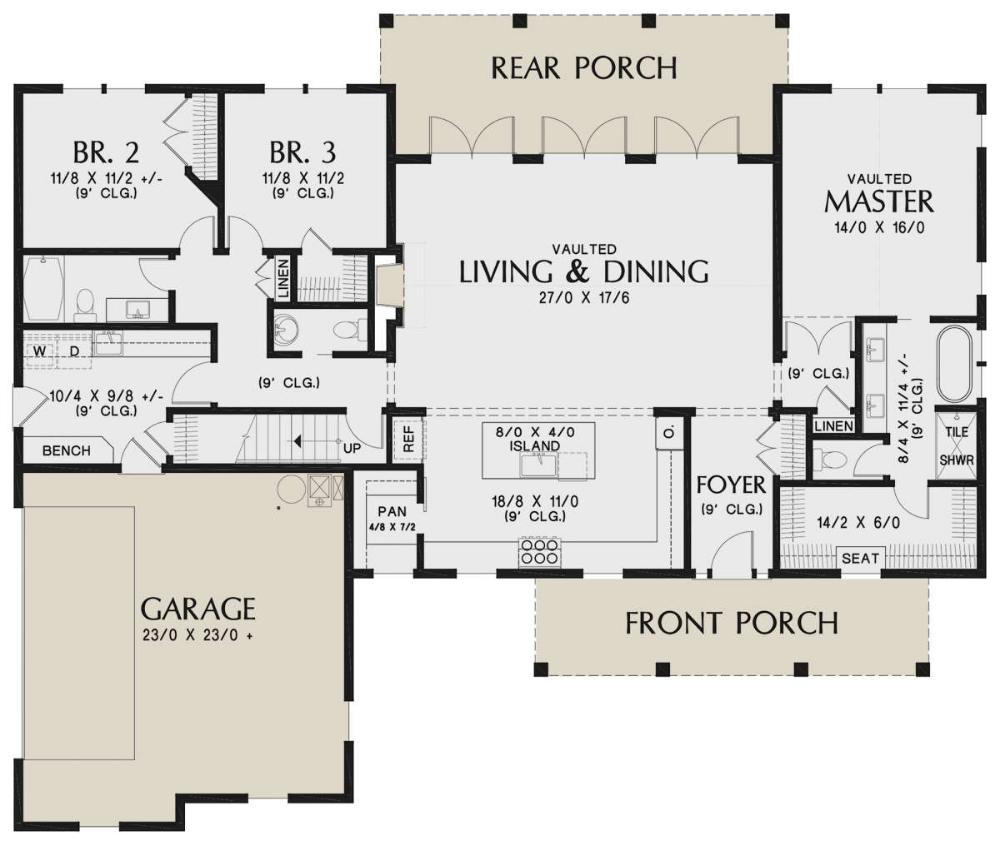 Modern Farmhouse Plan: 2,104 Square Feet, 3 Bedrooms, 2.5 Bathrooms - 2559-00832