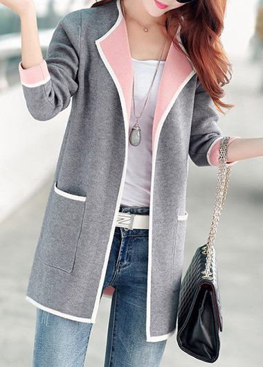 Open Front Long Sleeve Pocket Design Cardigan 92cbd5e61