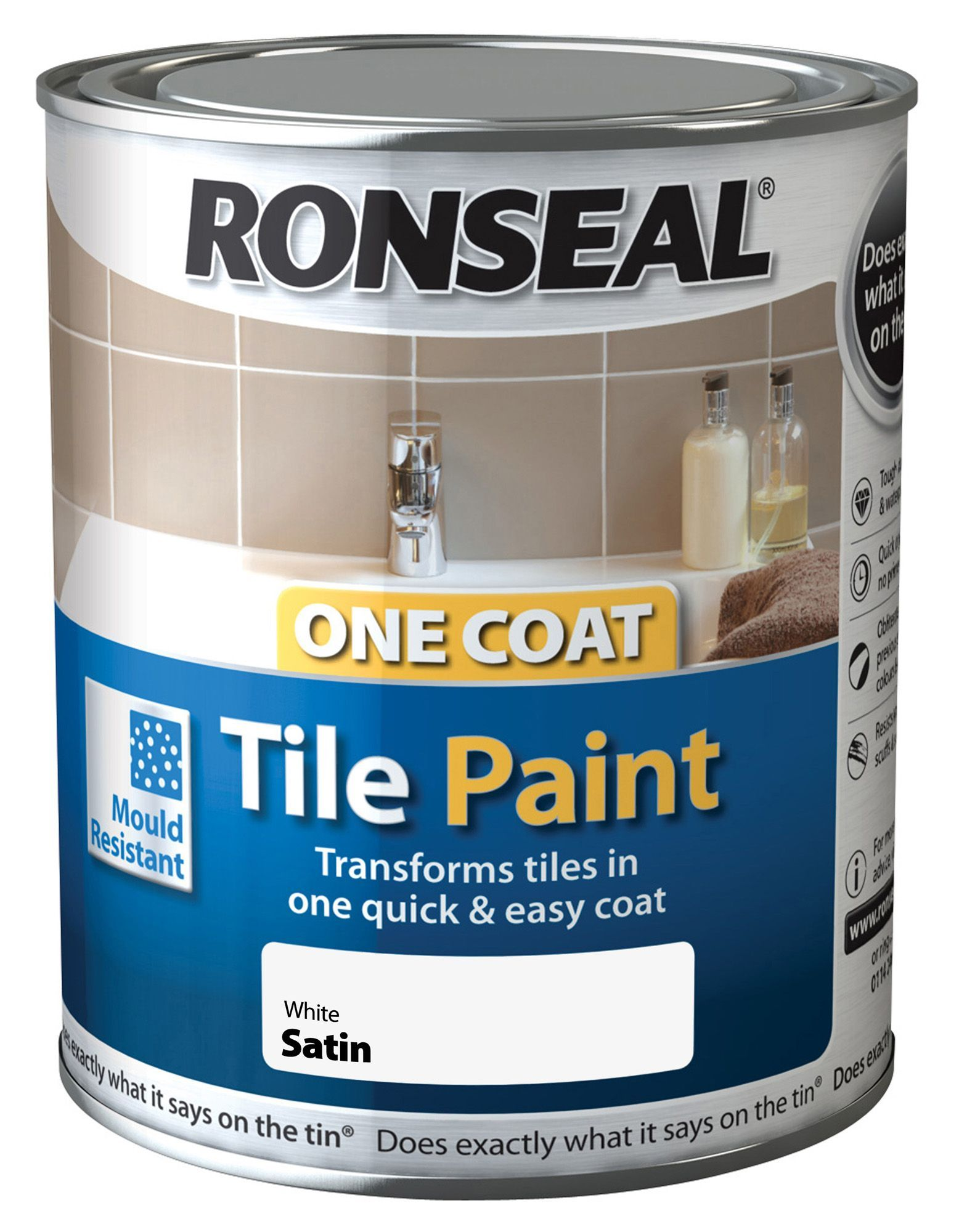 Ronseal One Coat White Satin Tile Paint 750ml Departments Diy At B Q