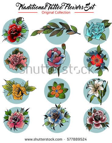 Vector Flowers Set Traditional Tattoo Designs American Traditional