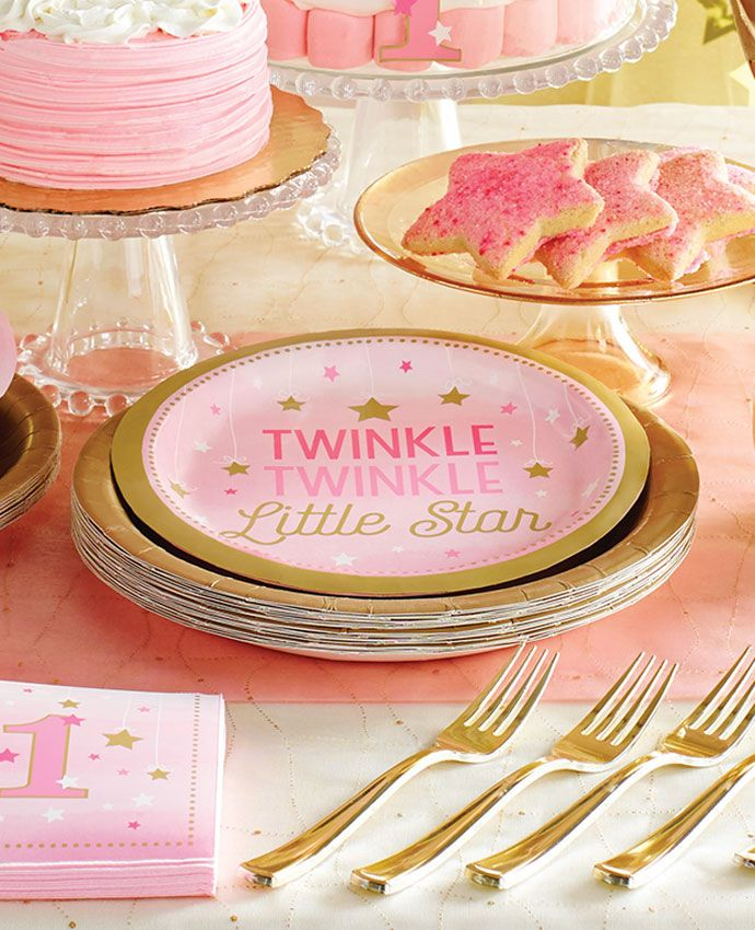 Throw A Beautiful 1st Birthday Party With Our Twinkle Little Star Supplies This Gorgeous Pink And Gold Theme Is The