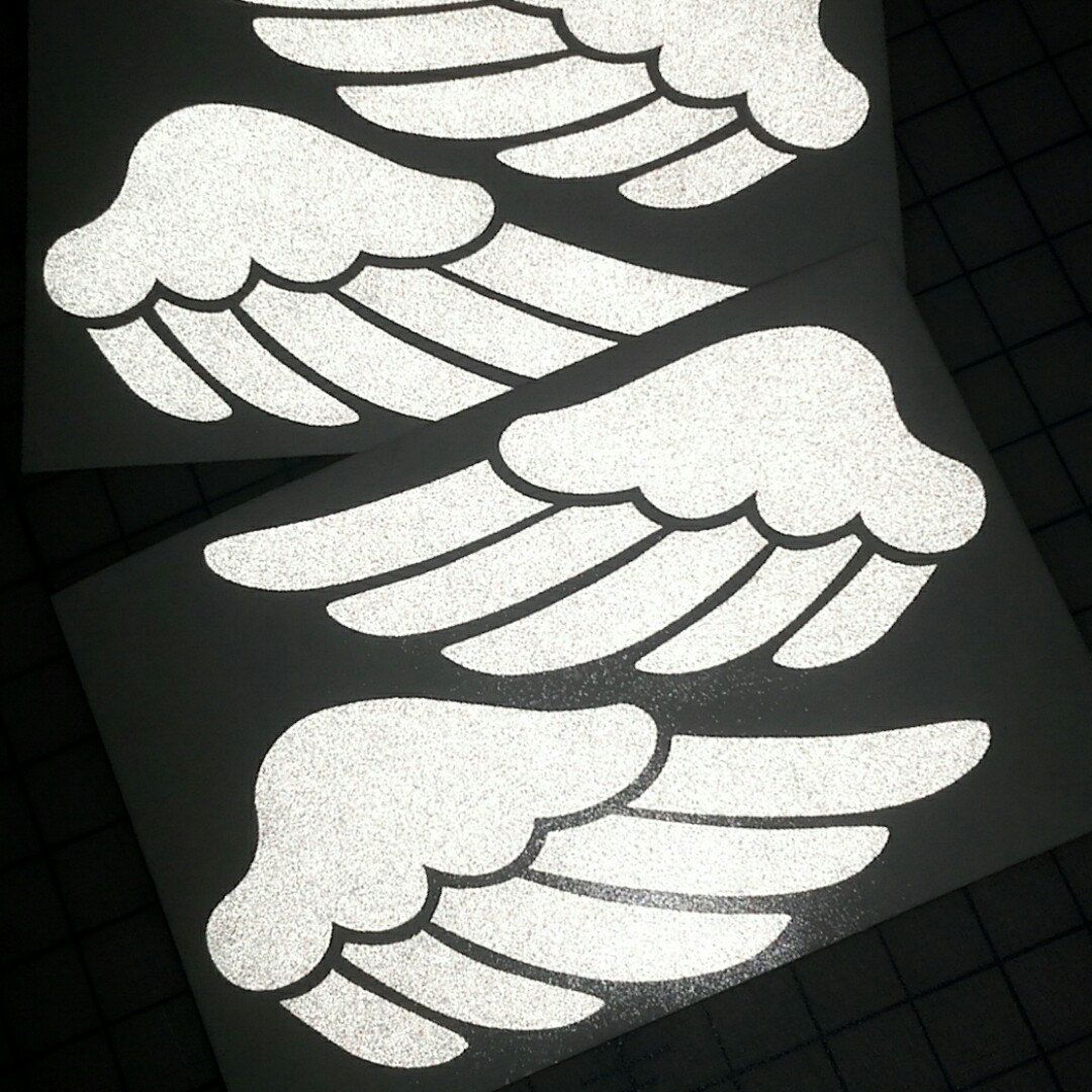 Our Reflective Wings Decal Set In White Reflective Vinyl Safety - Vinyl stickers for motorcycle helmetsdragon hyper reflective decal motorcycle helmet safety sticker