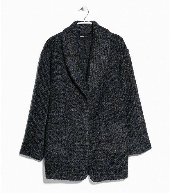 Mango Bouclé Mohair-Blend Coat in Gray