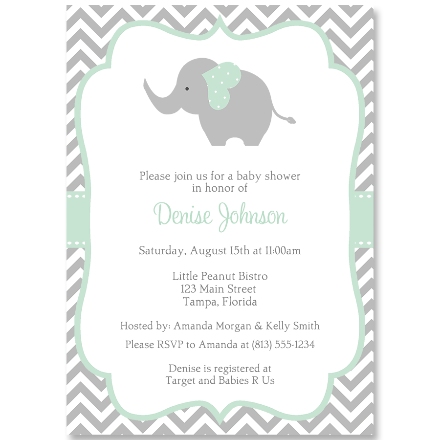 Chevron Elephant Mint Baby Shower Invitation in 2020