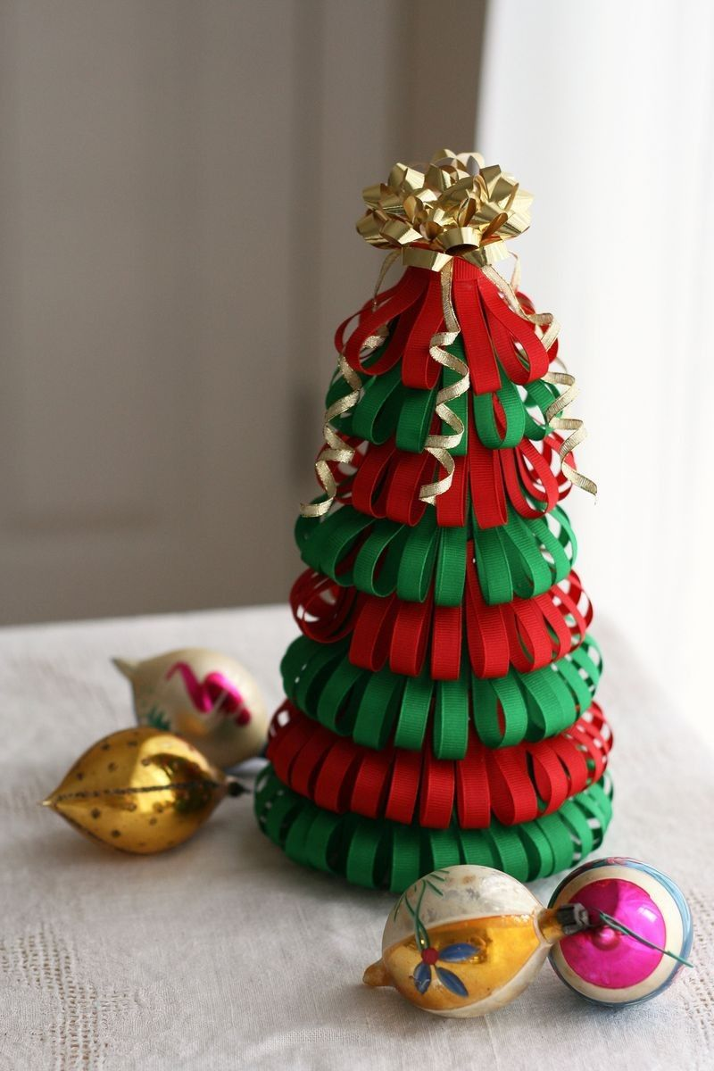 Diy Ribbon Paper Christmas Tree Decorations And Glitter Balls