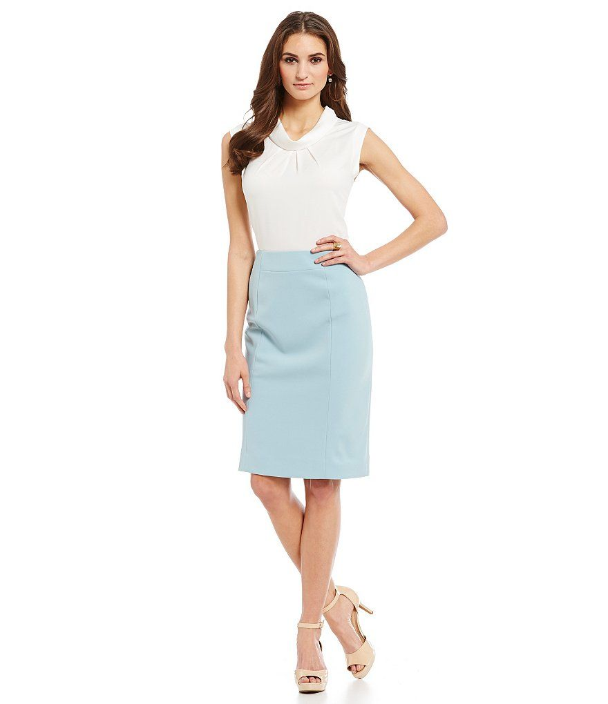 light blue pencil skirt office chic fashion style