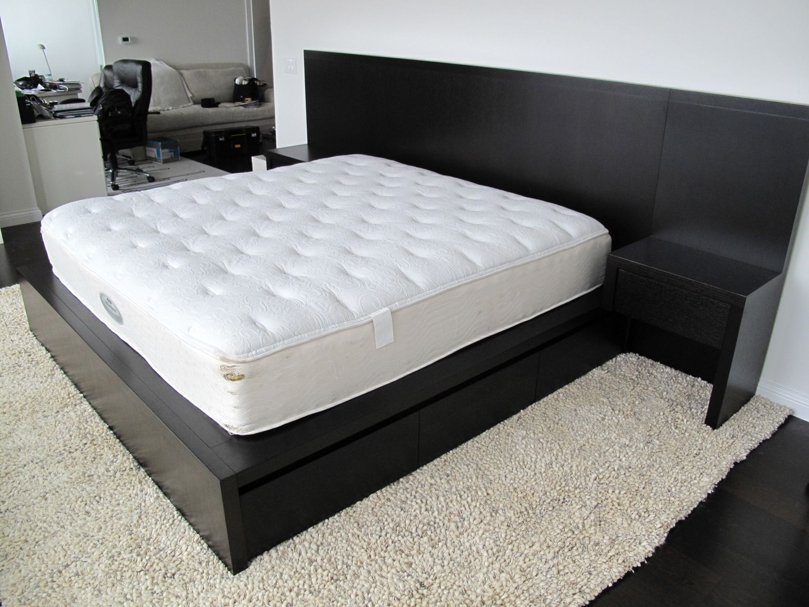 custom made modern espresso bed with storage this king size bed is