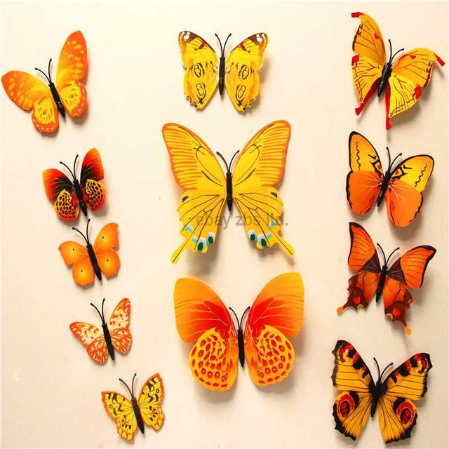 12pcs PVC 3d Butterfly wall decor cute Butterflies wall stickers art ...