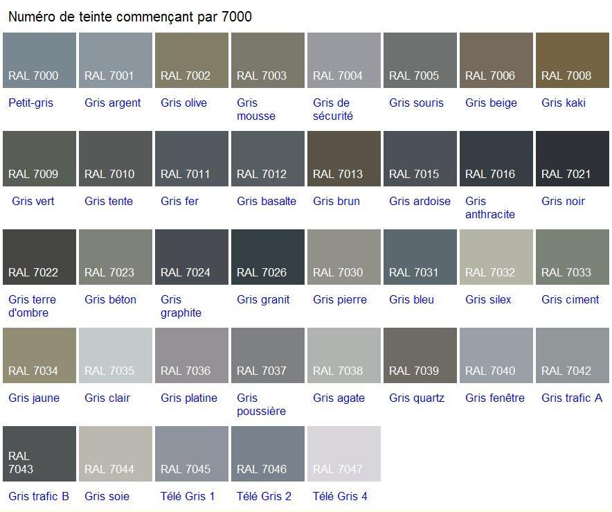 Aluminium couleurs fenpro design pinterest salons ral colours and color boards - Code couleur gris ...