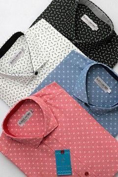 Camisa tela estampada con cuello italiano - Cod. 0054