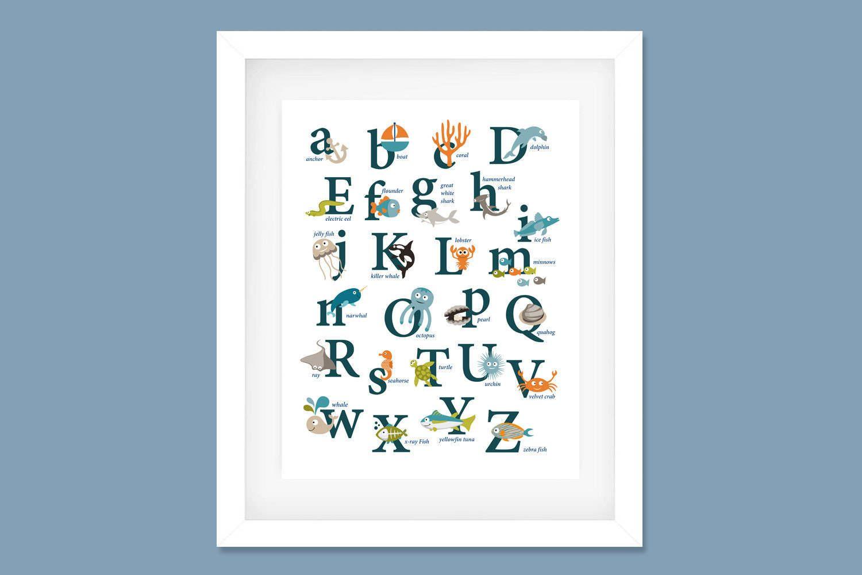 Ocean Alphabet Poster Nursery Print Ocean Theme