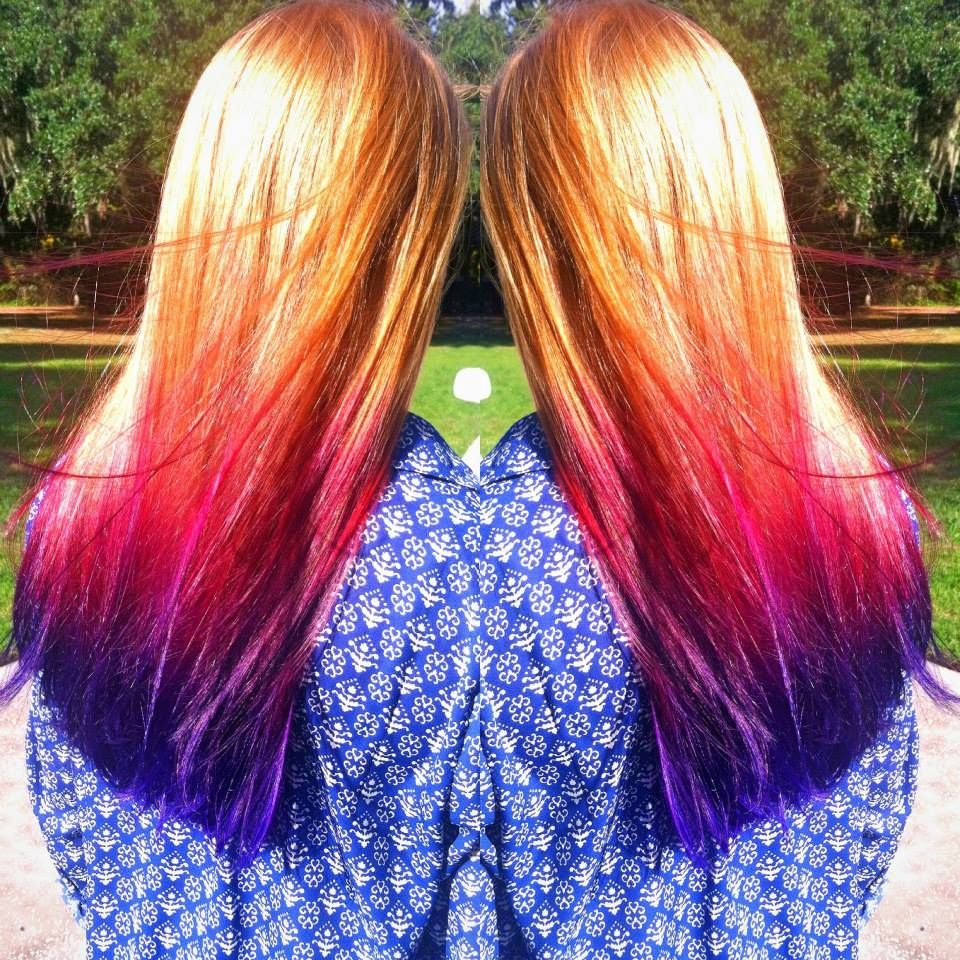 Natural Redhead With A Magenta To Purple Ombre Created With