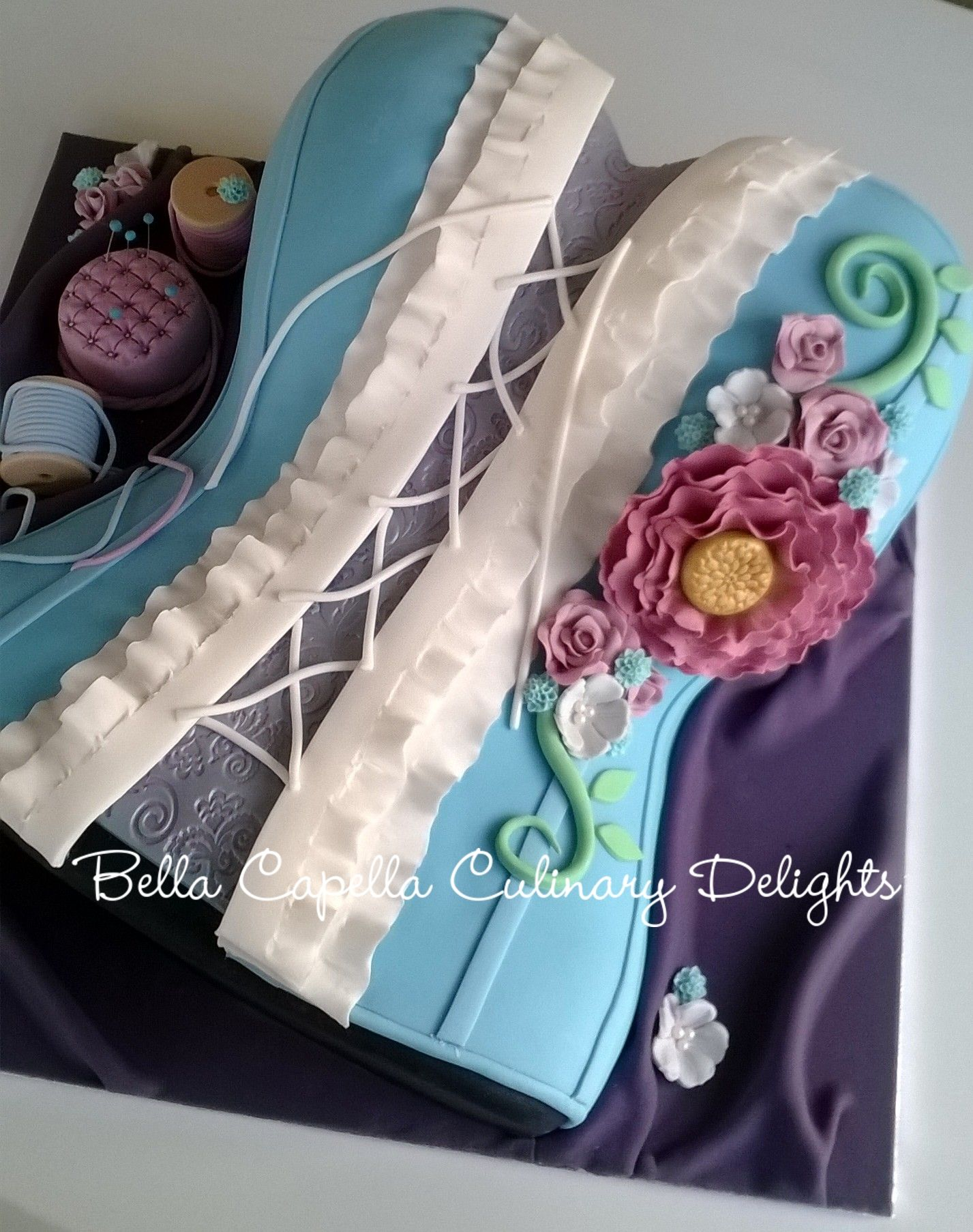 Floral Corset Cake . Cakes from Bella Capella Culinary