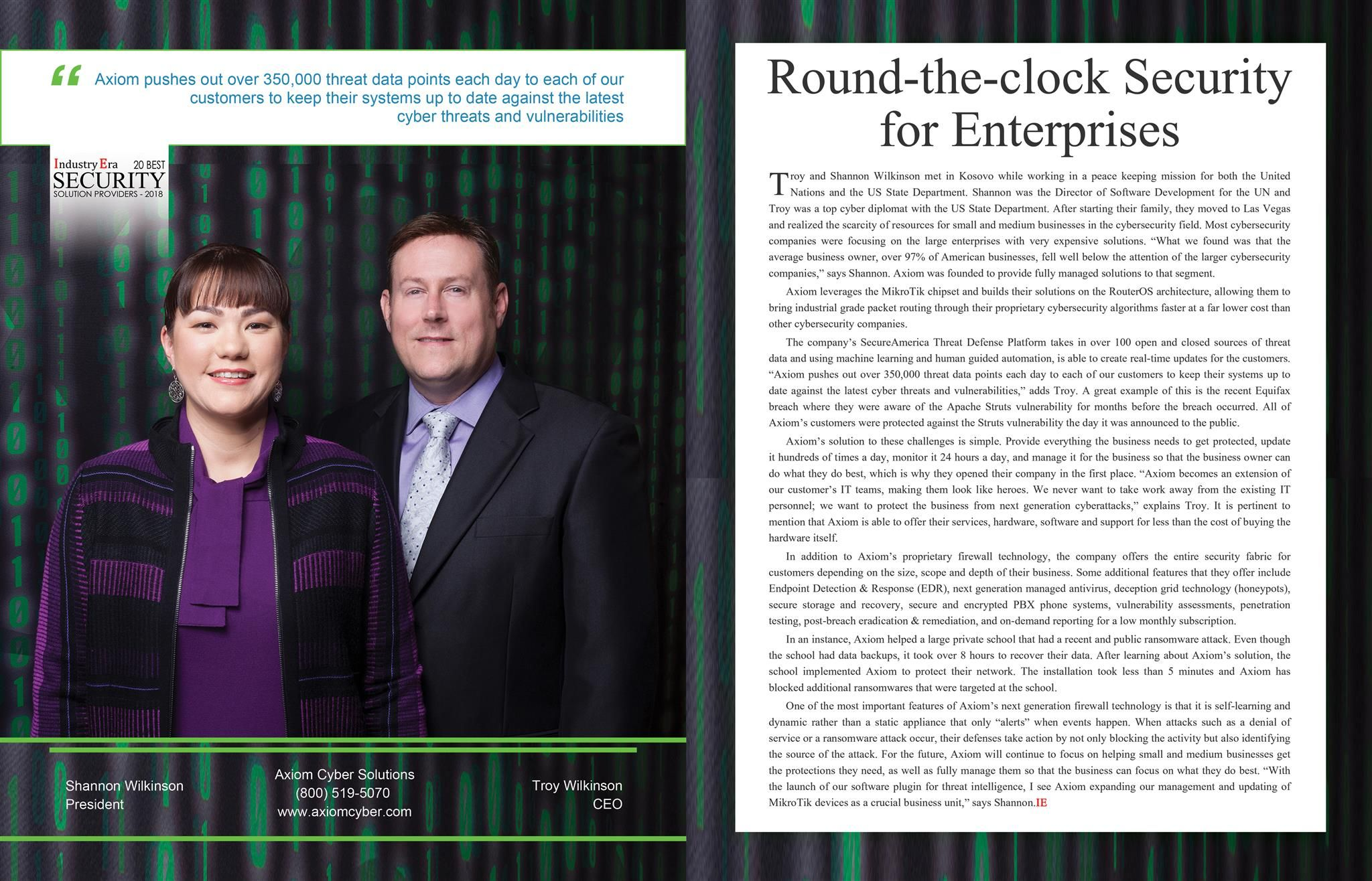 Axiom Cyber Solutions Round The Clock Security For Enterprises Security Solutions Technology Magazines Solutions
