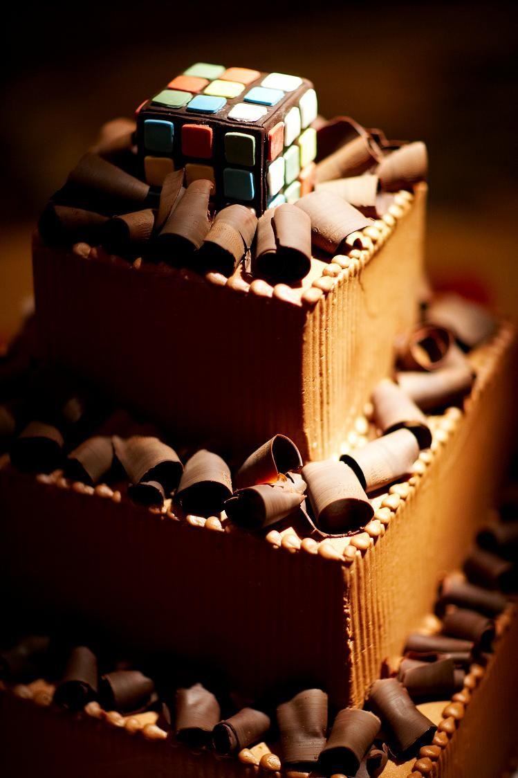 Chocolate Shavings with Rubik's Cube Topper Groom's Cake
