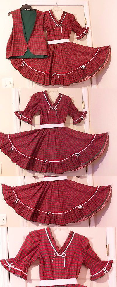 64cec0ba2b71 Square Dancing 152363: Square Dance Dress And Vest Christmas Red Green  Plaid And White Ribbons M -> BUY IT NOW ONLY: $30 on eBay!