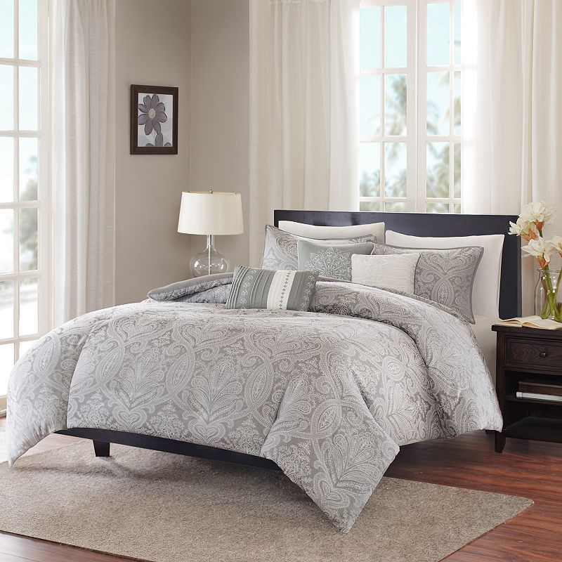 Madison Park Finley 6 Piece Duvet Cover Set Comforter Sets Grey