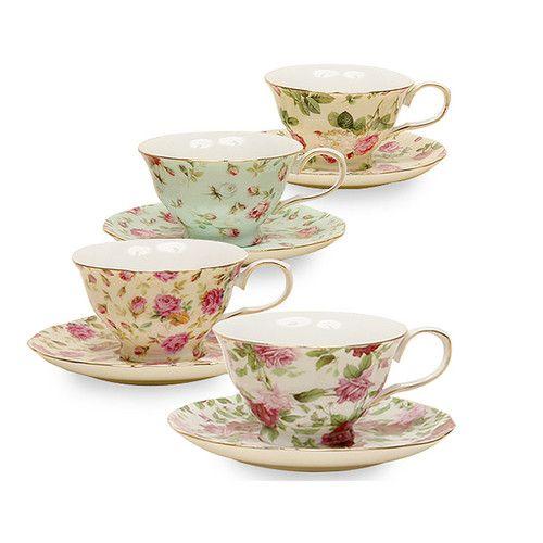 Ilian 8 Oz Porcelain Rose Chintz 4 Piece Tea Cup And