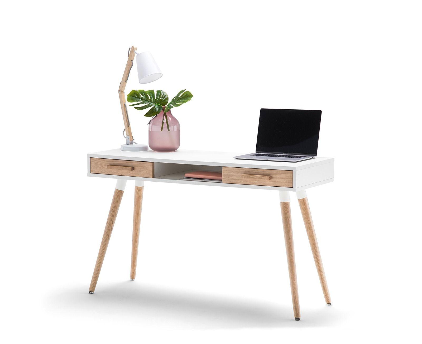 Scandinavian Design 2 Drawer White Timber Home Office Desk Scandinavian Desk Timber House Desk