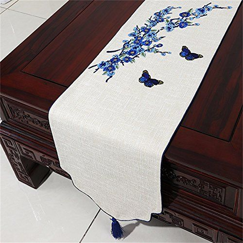 Royal Pastoral Cloth Cotton And Linen Table Runner Japanese Style Chinese Style Color Blue Si Linen Table Runner Fabric Table Runner Cheap Table Runners