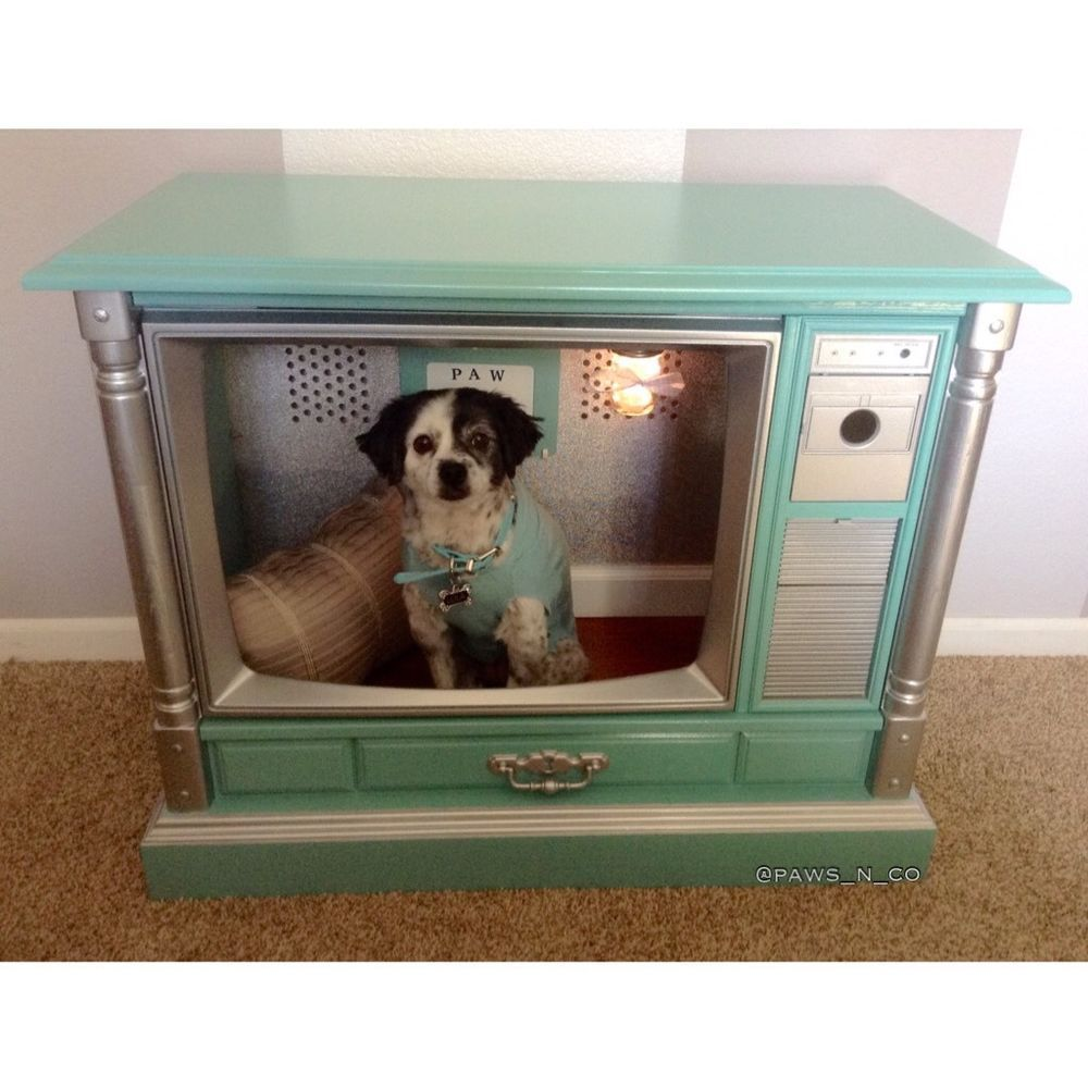 tiffany and company inspired dog bed dog house made from vintage tv hundebox in m beln. Black Bedroom Furniture Sets. Home Design Ideas