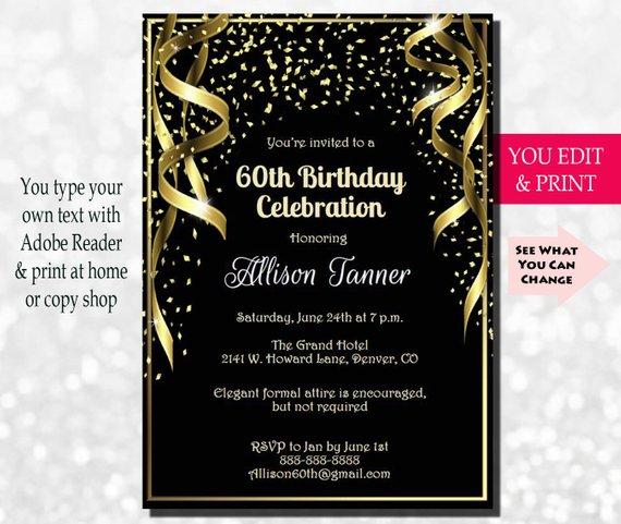 60th Birthday Invitation, 60th Birthday Party Invitation, 60th Invitation, Gold Glitter 60th Birthda