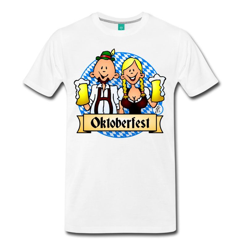 Oktoberfest T-shirt in the Cradvibes Oktoberfest T-shirt shop.  #Oktoberfest #Tshirt #Cardvibes #Spreadshirt  Oktoberfest!  A girl in a dirndl and a guy in lederhosen are having a big glass of beer.