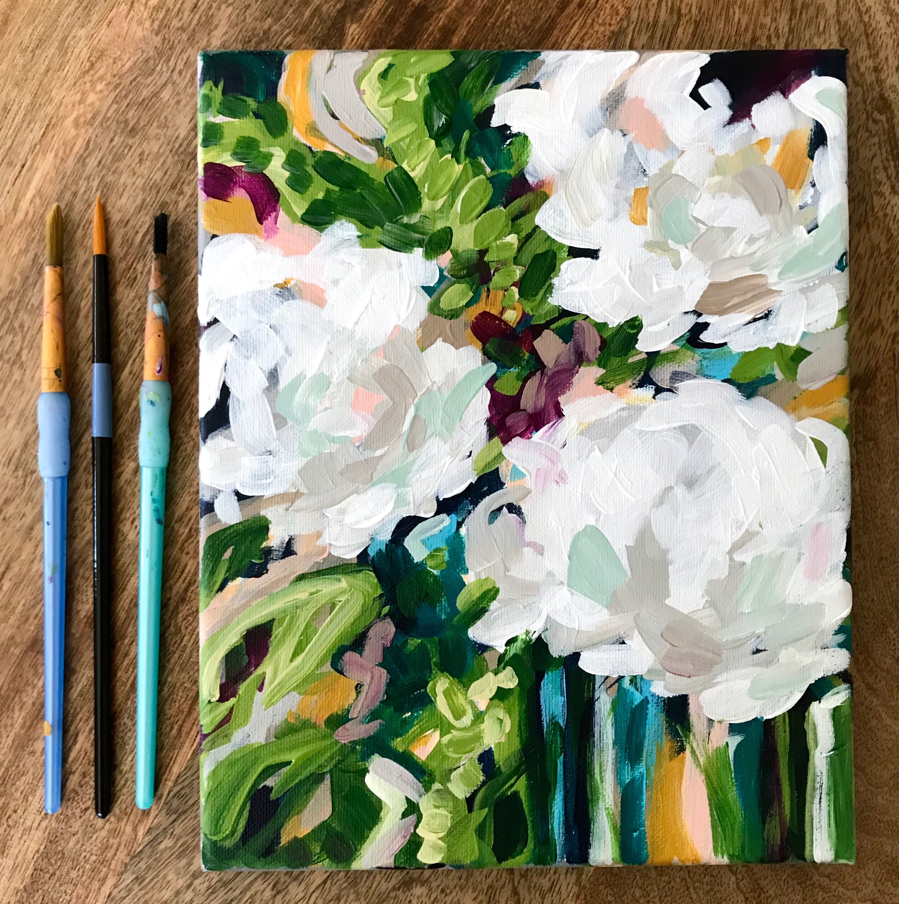 Simple Abstract Flower Painting Classes For Beginners With Step By