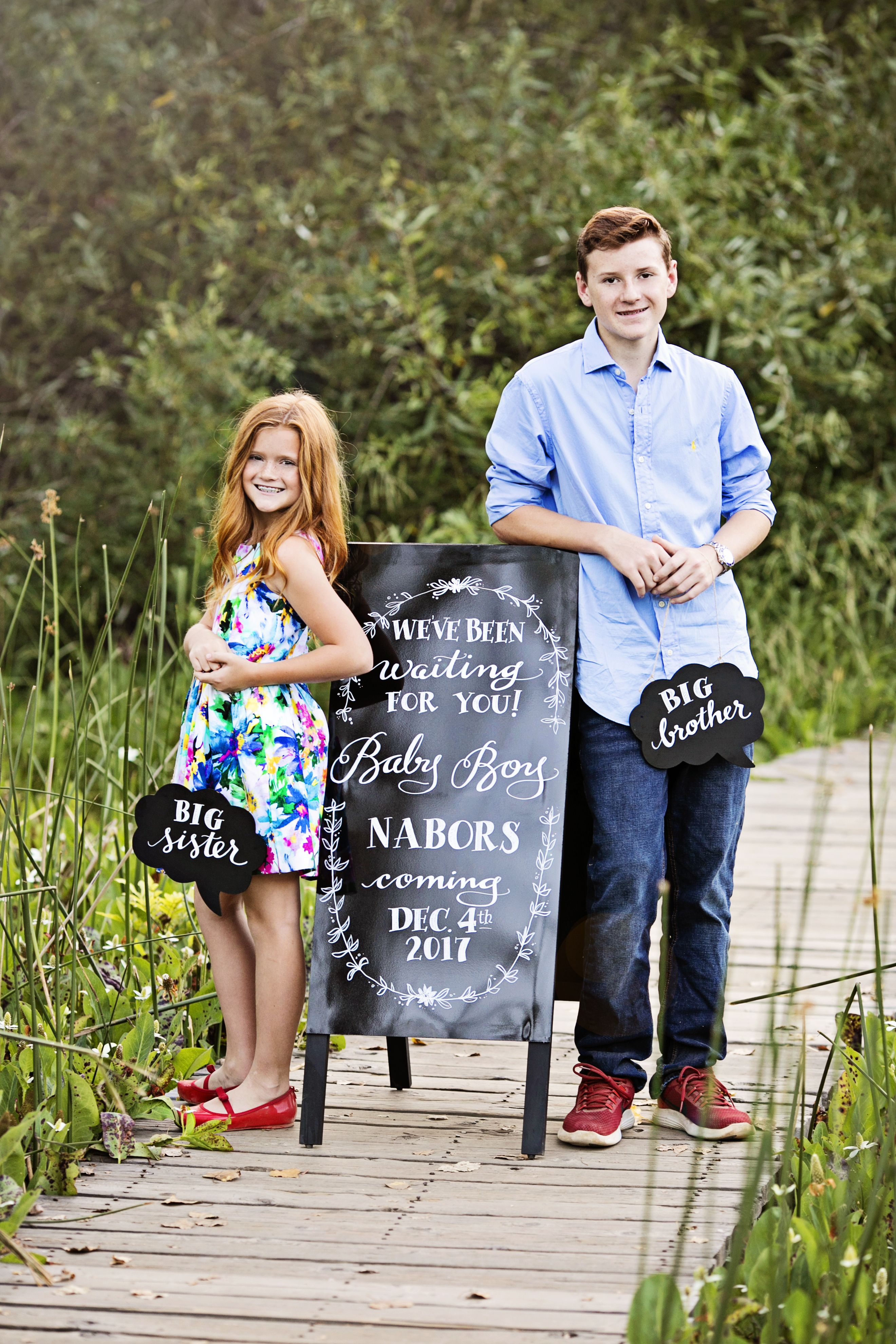 baby announcement siblings baby