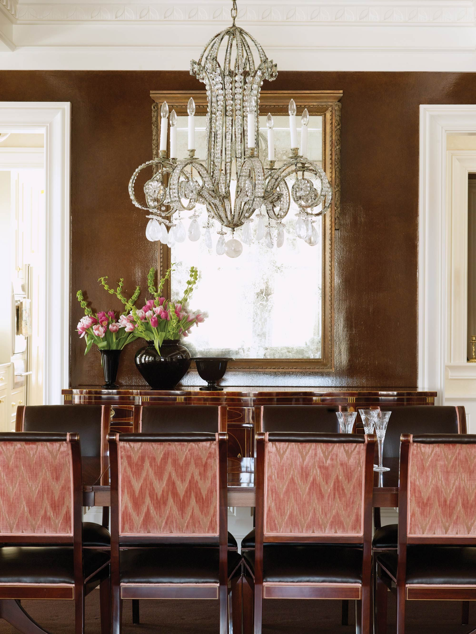 A light palette is used throughout the house except in the dining