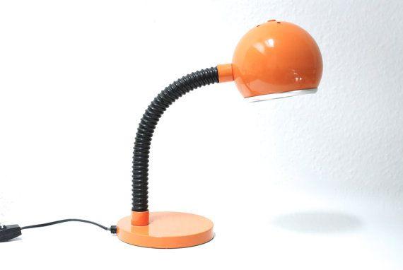 Orange Table Lamp Swiss Retro Desk Light Bright Modern Desk Lamp Night Table Adjustable Flexible Gooseneck Retro Table Lamps Orange Table Lamps Table Lamp