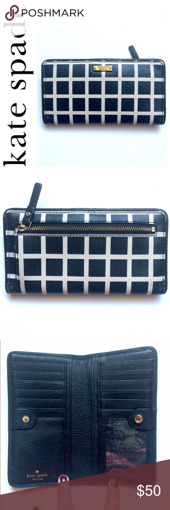 Kate Spade Wallet Used with love. Lots of card slots and a zippered coin compartment too. Slip pockets for cash and/or checkbook. Shows usual signs of use but nothing major. No stains rips etc. zipper and snap work fine kate spade Bags Wallets