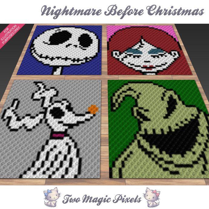 Nightmare Before Christmas Crochet Blanket.Nightmare Before Christmas Crochet Blanket Pattern C2c