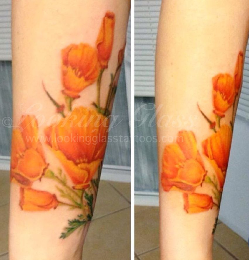 Poppy tattoo by amber looking glass tattoos brick nj for Looking glass tattoos
