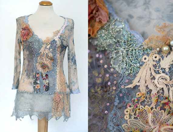 Sheer Romance,- blouse, textile collage with antique lace and mohair, sequins, beading, wearable art