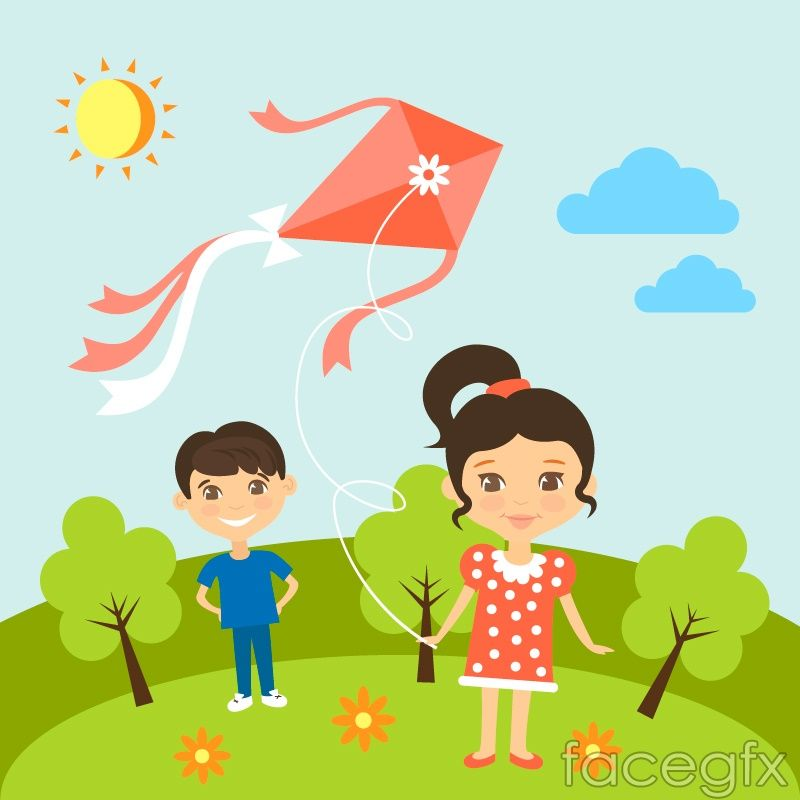 Cartoon Flying Kites Child Vector Kite Coloring Books Kite Making