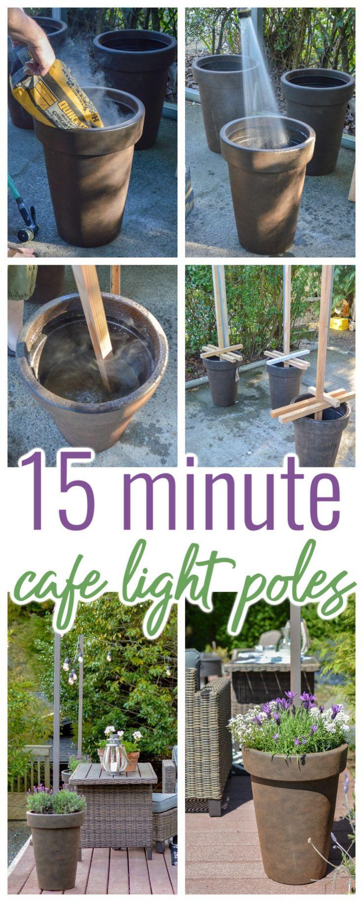 DIY CAFE LIGHT POLE POTS - TAKES ABOUT 15 MINUTES EACH!