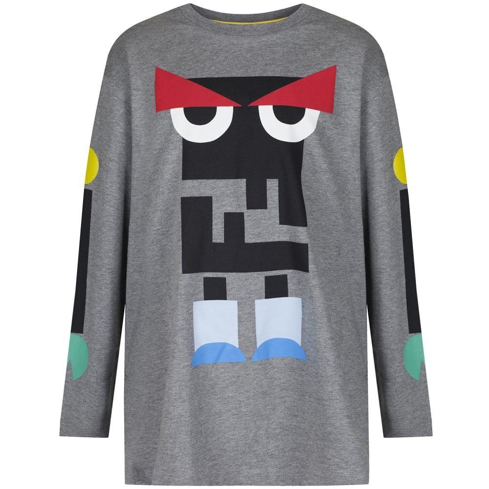 cdb64e7fe1b53 Fendi Boys Grey Monster Robot Print T-Shirt