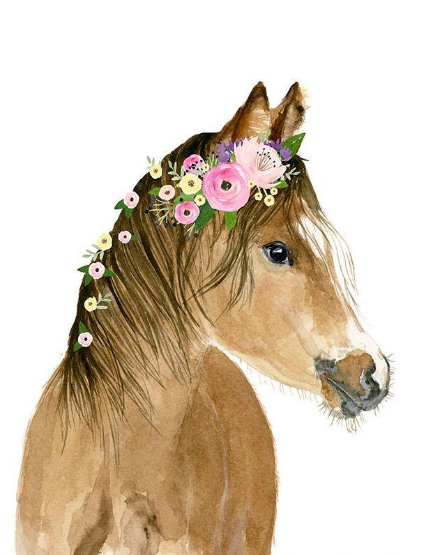 Caballo Foal vivero arte impresión, decoración de vivero de animales de granja, cartel de los niños, impresión del bebé del bebé del vivero, impresión de los animales del bebé, caballo de la corona de la flor