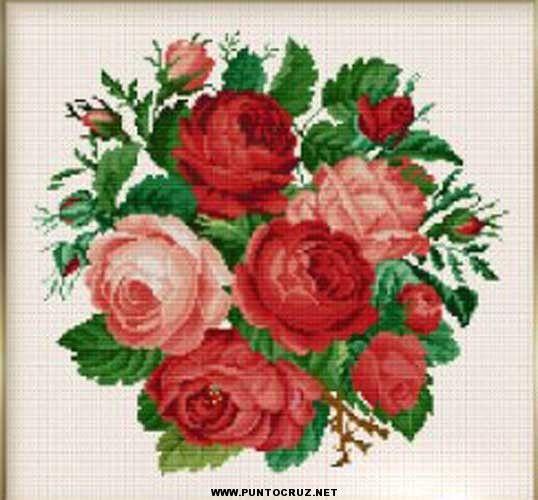 Patrones-de-flores-punto-cruz-gratis.jpg (538×500) | cuadriculas ...