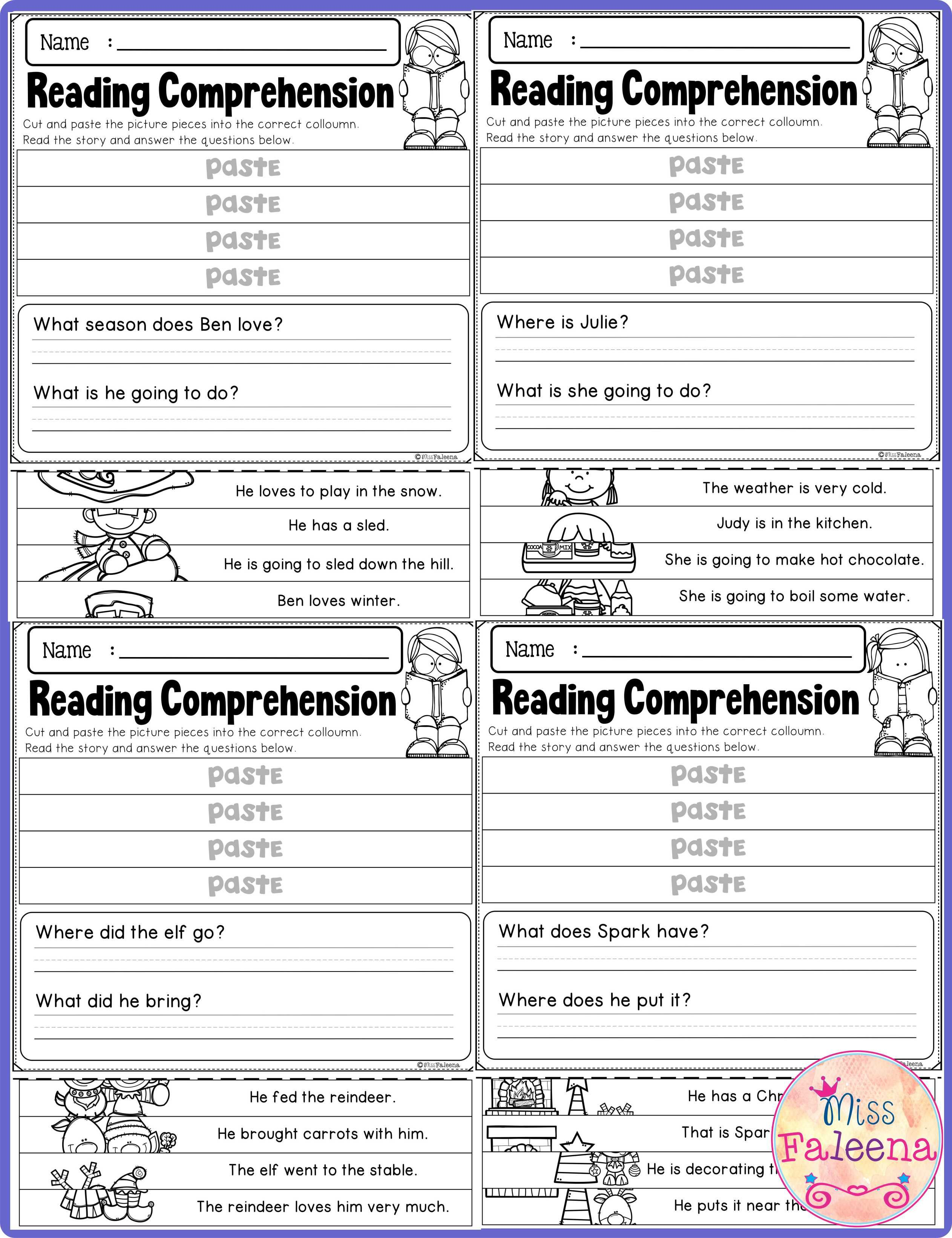 Winter Reading Comprehension Puzzles