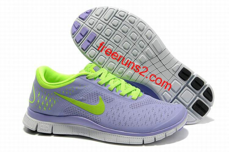 b7a484c99997 Womens Nike Free 4.0 V2 Purple Fluorescence Green Running Shoes ...