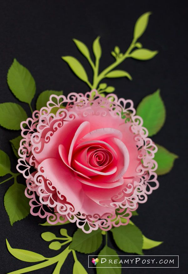 Lace rose flower #paperflowertutorial