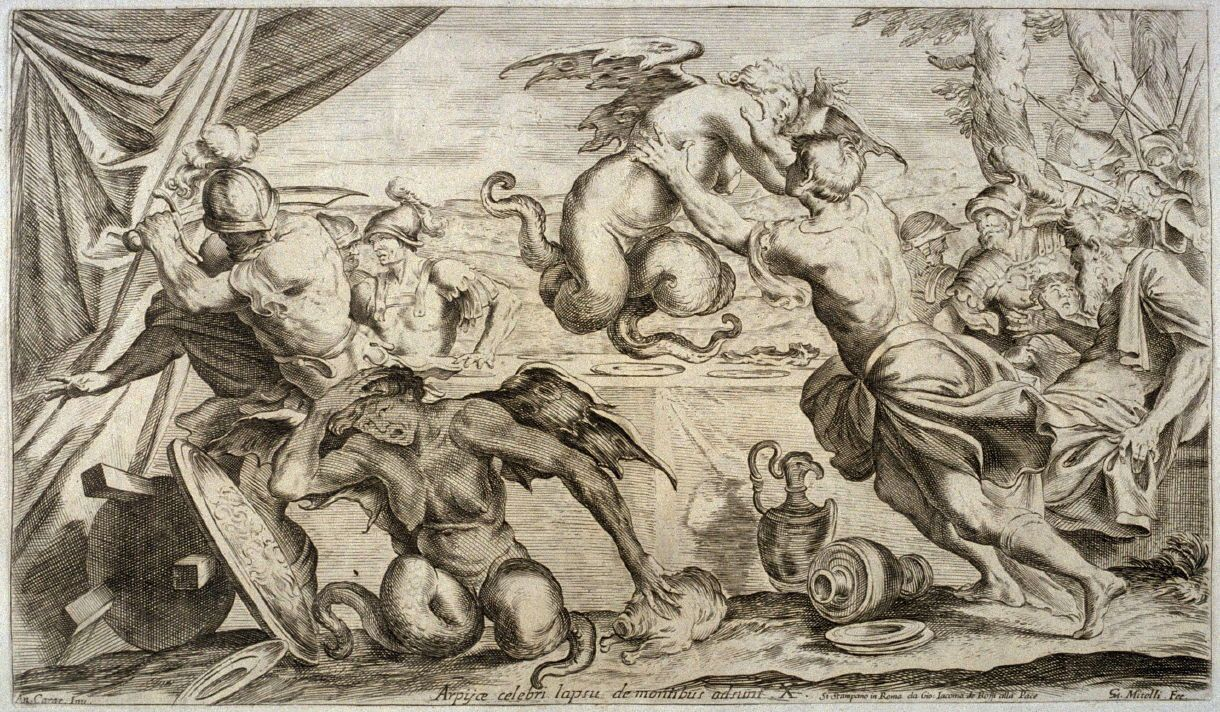 """Book III """"From another quarter of the heaven/, and from dark dens, the clanging crowd descends;/ they fall upon their prey with crooked talons, they defile our feast."""" [From""""l'Enea vagante,"""" paintings by Caracci.]"""