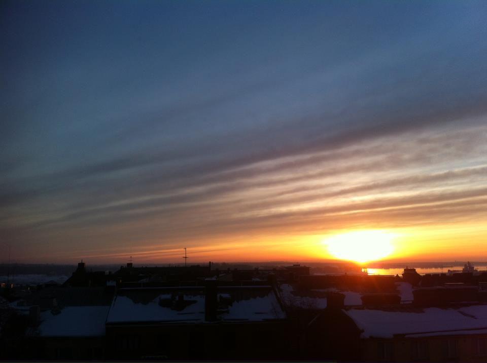 Sunrise in Helsinki, Finland.