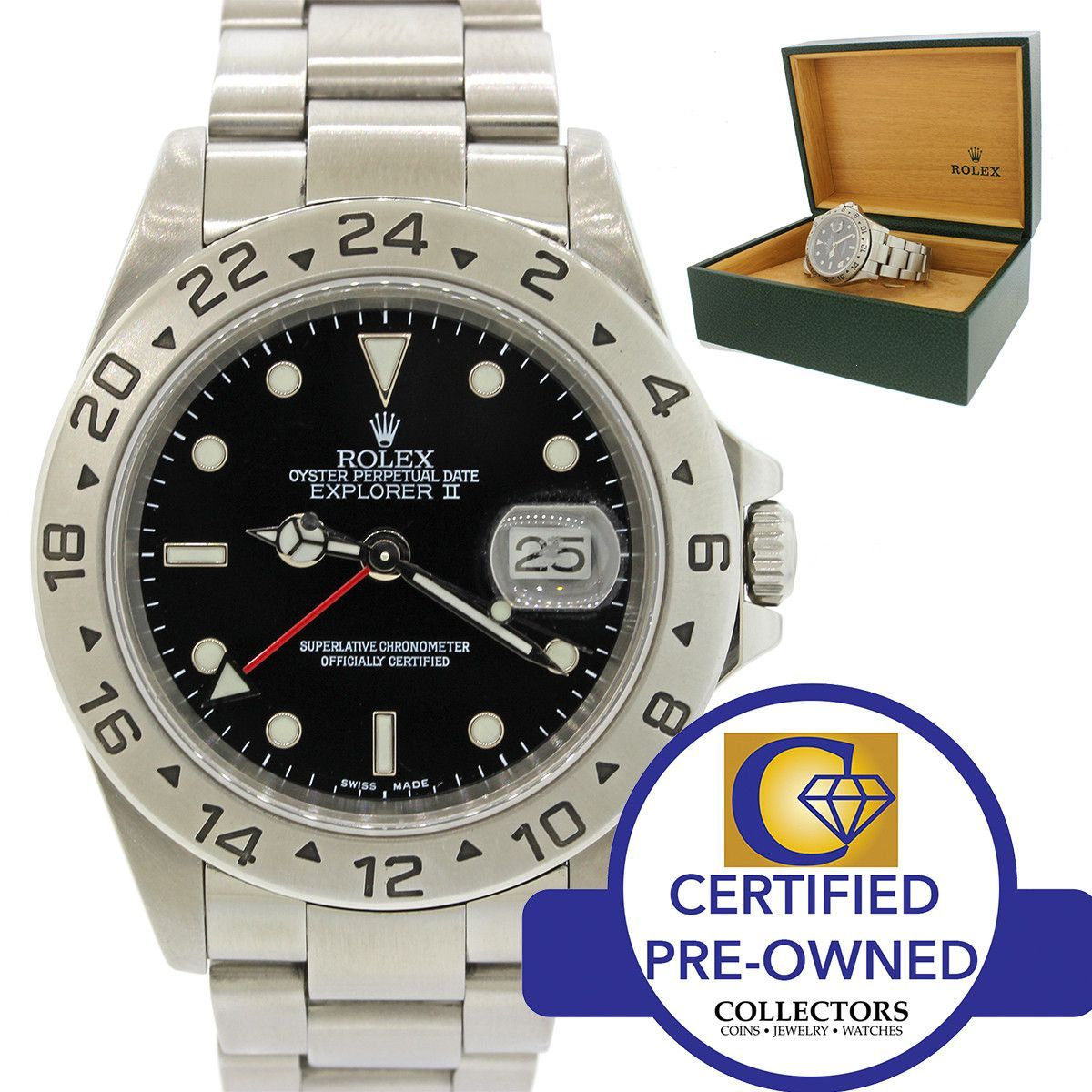 Rolex Explorer II 16570 Stainless Steel Black GMT Dial 40mm Sport Watch w/ Box